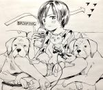 1girl arrow_(symbol) barefoot blush can cat dog dog_tags english_text greyscale holding holding_can holding_game_controller index_finger_raised indian_style looking_at_viewer masuda_(yousaytwosin) monochrome original parted_lips shirt short_hair shorts sitting solo toenails
