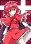 1girl aki_chimaki bangs bow bowtie braid buttons cape capelet closed_mouth collared_shirt cross eyebrows_visible_through_hair frilled_skirt frills hair_between_eyes hair_bow juliet_sleeves long_sleeves looking_at_viewer okazaki_yumemi puffy_sleeves red_bow red_capelet red_eyes red_neckwear red_skirt red_vest redhead shirt short_hair skirt smile solo touhou touhou_(pc-98) vest white_bow white_frills white_shirt white_sleeves