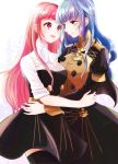 2girls belt blue_hair brown_eyes closed_mouth fire_emblem fire_emblem:_three_houses garreg_mach_monastery_uniform hair_down highres hilda_valentine_goneril long_hair long_sleeves marianne_von_edmund multiple_girls open_mouth pink_eyes pink_hair simple_background smile thigh-highs twitter_username uniform white_background yutohiroya