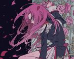1girl bike_shorts blue_eyes crying crying_with_eyes_open epaulettes flower hair_blowing highres long_hair petals pink_flower pink_hair pink_rose plant profile rosarian666 rose rose_petals scratches shoujo_kakumei_utena solo tears tenjou_utena thorns vines