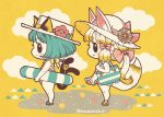 2girls animal_ears bag bangs blonde_hair blue_eyes blush boater_hat cat_ears cat_tail clouds ears_through_headwear eyebrows_visible_through_hair flower from_side hair_ribbon hat hat_flower imatomo_mahya innertube long_hair multiple_girls multiple_tails one-piece_swimsuit original profile ribbon sand sandals seashell shell short_hair shoulder_bag simple_background smile sun_hat swimsuit tail two_tails yellow_background