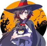 animal_ears black_hair blake_belladonna cat_ears eyebrows_visible_through_hair eyes_visible_through_hair gradient_hair grey_eyes hair_between_eyes halloween hat highres iesupa looking_at_viewer multicolored_hair redhead ruby_rose rwby short_hair two-tone_hair witch_hat yellow_eyes