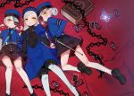 3girls bangs bed_sheet black_gloves blue_hairband blush book braid bug butterfly butterfly_hair_ornament card caroline_(persona_5) chain dress elbow_gloves eyepatch feet_out_of_frame full_body gloves hair_bun hair_ornament hairband hat insect justine_(persona_5) lavenza long_hair looking_at_viewer lying miyamae_(miyazen9311) multiple_girls necktie on_back parted_lips persona persona_5 pillow shorts siblings silver_hair smile spoilers swept_bangs tarot twins white_legwear yellow_eyes
