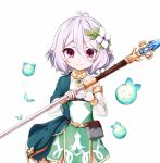 1girl antenna_hair bare_shoulders blush bridal_gauntlets closed_mouth cowboy_shot detached_sleeves dress flower hair_flower hair_ornament holding holding_spear holding_weapon kokkoro_(princess_connect!) kuena long_sleeves pointy_ears polearm princess_connect! princess_connect!_re:dive puffy_long_sleeves puffy_sleeves red_eyes see-through see-through_sleeves silver_hair simple_background sleeveless sleeveless_dress smile solo spear weapon white_background white_dress white_flower
