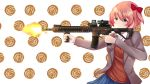 1girl aiming assault_rifle blue_eyes blue_skirt bow closed_mouth collared_shirt commission cowboy_shot doki_doki_literature_club eyebrows_visible_through_hair finger_on_trigger firing food_request grey_jacket gun hair_bow highres holding holding_gun holding_weapon jacket long_sleeves open_clothes open_jacket pink_hair pleated_skirt red_bow red_vest rifle sayori_(doki_doki_literature_club) shirt short_hair signature skirt solo sweater_vest temachii vest weapon white_shirt wing_collar