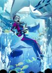 1girl aquarium audience bodysuit bubble commentary_request diving_mask diving_mask_on_eyes diving_regulator fish flippers gloves goggles manta_ray mask original scuba scuba_gear scuba_tank short_hair solo stingray swimsuit translation_request underwater water wetsuit whale