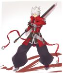 1boy alder belt black_gloves blazblue closed_mouth gloves gradient gradient_background green_eyes hair_between_eyes heterochromia highres holding holding_sword holding_weapon male_focus ragna_the_bloodedge red_eyes solo sword weapon white_hair