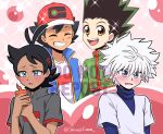 4boys antenna_hair baseball_cap black_hair black_shirt blue_eyes blue_jacket blue_undershirt blush brown_eyes closed_eyes dark_skin dark_skinned_male gon_freecss gou_(pokemon) green_jacket hat holding holding_phone hunter_x_hunter jacket killua_zoldyck looking_at_phone messy_hair multiple_boys open_mouth phone pokemon pokemon_(anime) pokemon_swsh_(anime) sara_bonetti satoshi_(pokemon) shirt sleeveless sleeveless_jacket smile sparkle spiky_hair twitter_username white_hair white_shirt yaoi
