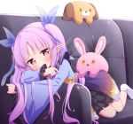 1girl black_skirt blush brown_eyes couch covering_mouth elf highres japanese_clothes kimono kyouka_(princess_connect!) long_hair looking_at_viewer lying on_stomach pointy_ears princess_connect! princess_connect!_re:dive purple_hair purple_kimono ribbon setmen skirt socks solo stuffed_animal stuffed_toy twintails white_footwear