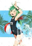 1girl annin_musou arm_up ball bandaid bandaid_on_leg beachball black_swimsuit blush eyebrows_visible_through_hair feet_out_of_frame green_eyes green_hair highres holding holding_ball holding_beachball kantai_collection long_hair matsu_(kantai_collection) name_tag one-piece_swimsuit one_eye_closed open_mouth school_swimsuit smile solo swimsuit water_drop