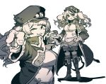 1girl bandaid bandaid_on_face boots grin hand_on_hip hat highres jacket jojo_no_kimyou_na_bouken jojo_pose knee_boots kuujou_joutarou long_hair long_sleeves looking_at_viewer monika_weisswind monochrome multiple_views one_eye_closed parody peaked_cap pointing pointing_at_viewer pose princess_connect! shirt skirt smile ssambatea sword thigh-highs torn_clothes torn_hat twintails weapon white_background white_shirt