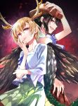 2girls back-to-back bandana black_hair black_wings blonde_hair blue_shirt brown_headwear cowboy_hat dragon_horns dragon_tail eyebrows_visible_through_hair fang green_skirt hand_on_own_face hand_on_own_head hat highres horns katayama_kei kicchou_yachie kurokoma_saki long_sleeves multiple_girls plaid plaid_skirt pleated_skirt red_eyes shirt short_hair short_sleeves skirt tail touhou turtle_shell wings