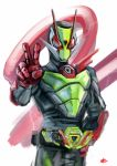 1boy belt_buckle buckle hand_on_hip highres kamen_rider kamen_rider_01_(series) kamen_rider_zero-two power_armor red_eyes signature solo tokusatsu upper_body v yygnzm