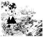 1girl absurdres architecture black_hair black_neckwear black_skirt building clouds commentary_request east_asian_architecture fan fog from_side greyscale hand_up hat highres holding holding_fan landscape leaf leaf_fan maple_leaf monochrome moriya_shrine mountain neck_ribbon onbashira outdoors pointy_ears pom_pom_(clothes) ribbon scenery shameimaru_aya shirt short_hair short_sleeves skirt solo tokin_hat torii touhou white_shirt yamame_jinja