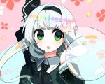 1girl bangs beryllium_(wintermerry) black_hairband black_neckwear black_ribbon blue_background blunt_bangs bug butterfly floral_background green_eyes green_jacket grey_hair hair_ribbon hairband hand_up insect jacket katana konpaku_youmu konpaku_youmu_(ghost) long_hair long_sleeves lowres open_mouth pink_background rainbow_gradient ribbon shirt short_hair solo sword touhou upper_body weapon white_shirt