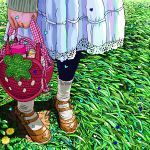 1girl ace_akira arm_at_side bag black_legwear brown_footwear child dandelion day dress flower grass handbag heart holding_purse leggings long_sleeves mary_janes original pink_purse plaid scenery shadow shoes socks solo standing sunlight white_dress white_legwear yellow_flower