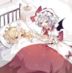 2girls ascot bangs bat_wings bed bedroom black_wings blanket blonde_hair blush bow bowl brooch closed_eyes commentary_request covering_mouth crystal desk_lamp drawer dress dress_bow eyebrows_visible_through_hair feeding fever flandre_scarlet food frills hair_between_eyes hair_spread_out half-closed_eyes hands_up hat hat_bow hat_ribbon holding holding_blanket holding_bowl holding_food holding_spoon ice ice_cube ice_pack indoors jewelry lamp lying mob_cap multiple_girls nursing on_back on_bed one_side_up open_mouth parted_bangs pillow pointy_ears puffy_short_sleeves puffy_sleeves red_bow red_eyes red_neckwear red_ribbon remilia_scarlet ribbon room sash short_hair short_sleeves siblings sick sidelocks silver_hair sisters sorani_(kaeru0768) soup spoon touhou under_covers white_dress white_headwear white_ribbon wings wrist_cuffs