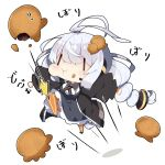 1girl :t antenna_hair bangs black_jacket braid breasts chibi closed_mouth collared_shirt commentary_request dress eating food food_on_face food_request food_themed_hair_ornament grey_dress hair_between_eyes hair_ornament headphones headset jacket jumping kizuna_akari kneeing large_breasts long_hair milkpanda minigirl open_clothes open_jacket orange_legwear pantyhose puffy_short_sleeves puffy_sleeves shadow shirt short_sleeves silver_hair solo striped striped_legwear translation_request twin_braids twintails vertical-striped_legwear vertical_stripes very_long_hair voiceroid wavy_mouth white_background white_shirt |_|