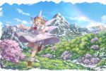 1girl :d absurdres blonde_hair bloomers bow bowtie brown_footwear capelet commentary_request day dress fairy_wings full_body hat hat_bow highres huge_filesize lily_white loafers mountain mountainous_horizon nagi_(xx001122) open_mouth outdoors petals red_bow red_eyes red_neckwear shoes short_sleeves smile socks solo touhou underwear white_capelet white_dress white_legwear wings