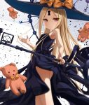 1girl abigail_williams_(fate/grand_order) ass bangs bare_shoulders black_bow black_dress black_headwear blonde_hair bow breasts closed_mouth dress fate/grand_order fate_(series) forehead hat highres key keyhole long_hair looking_at_viewer multiple_bows orange_bow parted_bangs red_eyes sakazakinchan small_breasts smile staff stuffed_animal stuffed_toy teddy_bear thighs witch_hat
