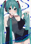 1girl bad_id bad_pixiv_id bare_shoulders black_skirt black_sleeves blush breasts collarbone commentary cowboy_shot detached_sleeves eyebrows_visible_through_hair gradient gradient_background green_eyes green_hair green_skirt hair_between_eyes hair_ornament hatsune_miku highres holding holding_hair long_hair looking_at_viewer medium_breasts melting multicolored multicolored_clothes multicolored_skirt nerua parted_lips skirt solo tagme twintails very_long_hair vocaloid wax white_background