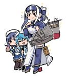 3girls :> ainu ainu_clothes black_legwear blue_hair blue_jacket blue_neckwear blue_sailor_collar blue_skirt blush_stickers breasts closed_mouth cropped_jacket fang fang_out flying_sweatdrops folded_ponytail full_body gloves hat holding jacket kamoi_(kantai_collection) kantai_collection large_breasts long_hair long_sleeves machinery multiple_girls neckerchief pleated_skirt purple_hair rigging sado_(kantai_collection) sailor_collar sailor_hat school_uniform serafuku simple_background skirt smile sparkle terrajin thigh-highs tsushima_(kantai_collection) turret v-shaped_eyebrows white_background white_gloves white_hair white_headwear