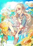 1girl :o blonde_hair blue_dress boots brown_footwear day dress flower full_body hair_ribbon highres holding holding_pencil ivy_(artist) kagerou_project kozakura_marry long_hair looking_at_viewer notepad outdoors pencil red_eyes ribbon sunflower