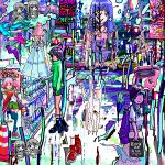 abstract ace_akira akihabara_(tokyo) aqua_hair bag bangs black_footwear black_legwear blue_hair blunt_bangs car city closed_mouth day frown gacha_gacha green_skirt ground_vehicle hat high_heels holding holding_bag lavender_hair long_hair long_skirt looking_at_viewer motor_vehicle multiple_girls original overalls pink_legwear pink_shirt pleated_skirt poster_(object) puddle red_footwear revision shiny shirt shoes shopping_bag short_hair short_sleeves skirt standing standing_on_one_leg sunlight traffic_cone twintails white_skirt