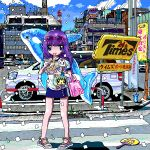 1girl ace_akira bag blue_eyes blue_skirt blue_sky building car chopsticks city closed_mouth clouds commentary_request confetti crosswalk cup day drain_(object) drinking_straw eating eyewear_on_head fan full_body glasses ground_vehicle holding holding_chopsticks long_hair looking_at_viewer motor_vehicle original outdoors paper_fan pigeon-toed pink-framed_eyewear pink_bag plant purple_hair railing road sandals shadow shirt short_sleeves skirt sky solo standing street sunglasses sunlight traffic_light translation_request white_shirt