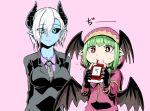 2girls black_horns black_neckwear black_sclera black_suit black_wings blood blue_skin breasts demon_horns demon_wings formal green_eyes green_hair head_wings hood horns kuma_yasuhisa large_breasts lizette_(musuko_ga_kawaikute_shikatanai_mazoku_no_hahaoya) multiple_girls musuko_ga_kawaikute_shikatanai_mazoku_no_hahaoya necktie pink_background pointy_ears purple_shirt shirt short_hair smile suit teresa_(musuko_ga_kawaikute_shikatanai_mazoku_no_hahaoya) vampire white_hair wings
