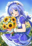 1girl blue_bow blue_eyes blue_hair blush bow character_request company_name copyright_request day eyebrows_visible_through_hair flower gloves hair_bow holding holding_flower long_hair looking_at_viewer nagu open_mouth outdoors smile solo sunflower twintails very_long_hair white_gloves