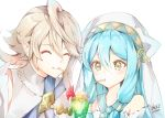 1boy 1girl atoatto azura_(fire_emblem) blue_hair closed_eyes closed_mouth corrin_(fire_emblem) corrin_(fire_emblem)_(male) drinking drinking_straw fire_emblem fire_emblem_fates fire_emblem_heroes glass hat long_hair pointy_ears short_hair signature simple_background upper_body white_background white_hair yellow_eyes