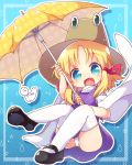 1girl arms_up bangs black_footwear blonde_hair blue_background blue_eyes brown_headwear chibi commentary_request eyebrows_visible_through_hair fang hair_ribbon hat high_collar highres holding holding_umbrella leaning_back long_sleeves looking_at_viewer mary_janes matatabi_(nigatsu) moriya_suwako open_mouth outline panties pantyshot parted_bangs patterned_background polka_dot polka_dot_umbrella purple_skirt purple_vest ribbon shirt shoes short_hair sidelocks sitting skin_fang skirt solo star_(symbol) striped striped_background teruterubouzu thigh-highs touhou umbrella underwear unmoving_pattern vest water_drop white_legwear white_panties white_shirt wide_sleeves yellow_umbrella
