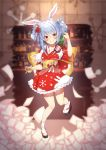 1girl alcohol animal_ear_fluff animal_ears ankle_socks bar bartender blue_hair blurry blurry_background bottle bow bunny_ear_socks collarbone don-chan_(hololive) double_bun eyebrows_visible_through_hair frills geta hair_ornament highres hololive japanese_clothes kimono large_bow moritatsu obi rabbit_ears red_eyes sash snow_print solo tabi thick_eyebrows usada_pekora virtual_youtuber whiskey white_legwear yellow_belt yellow_bow yukata