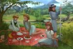 4girls a_little_princess anne_of_green_gables anne_shirley barefoot blanket braid brown_eyes brown_hair cake clouds commission commissioner_upload curly_hair dress english_commentary food fruit grass green_eyes hat heidi lake landscape long_hair mary_lennox mountain multiple_girls outdoors picnic picnic_basket pinafore_dress plate realistic redhead sara_crewe scenery shade shadow short_hair sun_hat the_secret_garden tree tychytamara