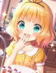 1girl :d bangs blonde_hair blue_eyes blunt_bangs blush breasts cake close-up collarbone commentary_request covering_mouth dress eyebrows_visible_through_hair food fruit gochuumon_wa_usagi_desu_ka? hair_ribbon hand_over_own_mouth holding holding_plate indoors kirima_sharo looking_at_object mozukun43 open_mouth plate ribbon shiny shiny_hair short_hair short_sleeves small_breasts smile solo strawberry tears translation_request twitter_username wavy_hair yellow_dress