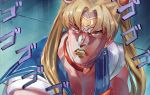 1boy bangs bishoujo_senshi_sailor_moon blonde_hair blue_sailor_collar choker circlet collarbone crescent crescent_earrings derivative_work dio_brando earrings english_commentary hair_over_shoulder headband heart heart_choker highres jewelry jojo_no_kimyou_na_bouken lipstick long_hair makeup male_focus menacing_(jojo) mr.holmes muscle neck_scar parody red_choker red_eyes sailor_collar sailor_moon sailor_moon_redraw_challenge sailor_senshi_uniform scar screencap_redraw solo stardust_crusaders twintails upper_body vampire