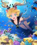 1girl air_bubble animal_ears armband blonde_hair blue_eyes bubble character_request chkuyomi commentary_request copyright_name coral fish hair_ribbon long_hair official_art open_mouth ribbon sailor_collar shingeki_no_bahamut smile swimming swimsuit symbol-shaped_pupils twintails underwater white_swimsuit