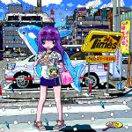 1girl ace_akira bag blue_eyes blue_skirt blue_sky building car chopsticks city closed_mouth clouds commentary_request confetti crosswalk cup day drain_(object) drinking_straw eating eyewear_on_head fan full_body glasses ground_vehicle holding holding_chopsticks long_hair looking_at_viewer motor_vehicle original outdoors paper_fan pigeon-toed pink-framed_eyewear pink_bag plant purple_hair railing revision road sandals shadow shirt short_sleeves skirt sky solo standing street sunglasses sunlight traffic_light translation_request white_shirt