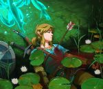 1boy 1girl arrow_(projectile) bleeding blonde_hair blood blood_in_water blue_eyes blue_shirt bow_(weapon) bubble cattail grass highres lily_pad link malin_falch mipha pants plant pointy_ears shield shirt sideburns spirit sword the_legend_of_zelda the_legend_of_zelda:_breath_of_the_wild water weapon