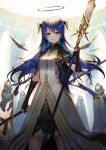 1girl arknights bangs black_capelet black_gloves blue_eyes blue_hair breasts capelet commentary_request cowboy_shot dress gloves hair_between_eyes halo highres holding holding_staff horns long_hair looking_at_viewer mostima_(arknights) sho_(sumika) small_breasts staff standing very_long_hair white_dress