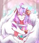 1girl ahoge alternate_costume alternate_hair_color alternate_hairstyle animal_ears blue_hair cherry_blossoms closed_eyes curled_horns flower fur hair_between_eyes hair_flower hair_ornament horns kindred lamb_(league_of_legends) league_of_legends long_hair purple_hair ribbon sheep_girl smile spirit_blossom_kindred tongue tongue_out twintails white_fur white_hair wolf wolf_(league_of_legends)