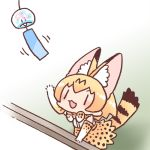 1girl :3 animal_ear_fluff animal_ears animal_print arm_support arm_up bow bowtie chibi elbow_gloves extra_ears from_above gloves indoors inukoro_(spa) kemono_friends looking_up lowres motion_lines no_nose open_hand open_mouth orange_hair print_bow print_gloves print_neckwear print_skirt serval_(kemono_friends) serval_ears serval_print serval_tail short_hair skirt solo striped_tail tail v-shaped_eyebrows wind_chime windowsill |_|