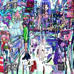 abstract ace_akira akihabara_(tokyo) aqua_hair bag bangs black_footwear black_legwear blue_hair blunt_bangs car city closed_mouth day frown gacha_gacha green_skirt ground_vehicle hat high_heels holding holding_bag lavender_hair long_hair long_skirt looking_at_viewer motor_vehicle multiple_girls original overalls pink_legwear pink_shirt pleated_skirt poster_(object) puddle red_footwear shiny shirt shoes shopping_bag short_hair short_sleeves skirt standing standing_on_one_leg sunlight traffic_cone twintails white_skirt