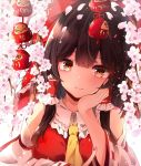 1girl bow branch brown_eyes brown_hair cherry_blossoms commentary daruma_doll detached_sleeves elbow_rest flower hair_bow hair_tubes hakurei_reimu hand_on_own_cheek hand_up highres hunya long_hair long_sleeves looking_at_viewer petals red_bow red_shirt ribbon-trimmed_sleeves ribbon_trim shirt solo sparkle touhou upper_body white_background yellow_neckwear