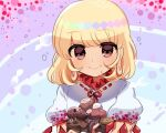 1girl beryllium_(wintermerry) blonde_hair blue_background brown_eyes dress earlobes ebisu_eika fish frilled_sleeves frills holding looking_at_viewer lowres medium_hair puffy_short_sleeves puffy_sleeves purple_background rainbow_gradient rock short_sleeves smile solo striped striped_background touhou upper_body white_dress