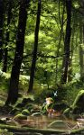1boy acrylic_paint_(medium) barefoot boots_removed brown_hair brown_pants closed_mouth commentary erik_krenz fairy forest green_headwear hands_on_own_knees hat highres link long_sleeves looking_to_the_side nature navi outdoors pants scenery shield sitting smile soaking_feet stream the_legend_of_zelda traditional_media tree water wide_shot