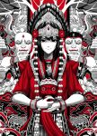 1girl black_hair elephant greyscale headdress highres holding holding_mask indonesian_clothes long_hair looking_at_viewer mask monochrome original pom_pom_(clothes) red_shirt shirt spot_color wristband yugo_(yugotme97)