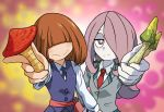 2girls bags_under_eyes bangs blazer blue_neckwear blush boku_no_hero_academia brown_hair commentary_request cosplay costume_switch covered_eyes cowboy_shot crossover hair_over_eyes hair_over_one_eye holding_mushroom jacket komori_kinoko little_witch_academia long_hair long_sleeves looking_at_viewer luna_nova_school_uniform multiple_girls mushroom necktie pale_skin purple_hair red_neckwear sanpaku school_uniform shirt sucy_manbavaran u.a._school_uniform uranoyoru vest