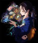 1girl abstract artist_name black_background black_hair blue_kimono bouquet bow closed_eyes closed_mouth commentary eyelashes fireworks flower holding japanese_clothes kimono lips long_hair original ponytail signature simple_background smile solo umishima_senbon upper_body